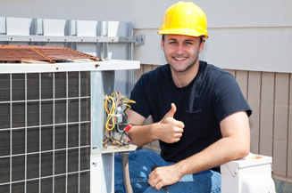 ac repair technician thumbs up